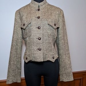 BOSTON PROSPER Tweed Military Style Jacket Size 14
